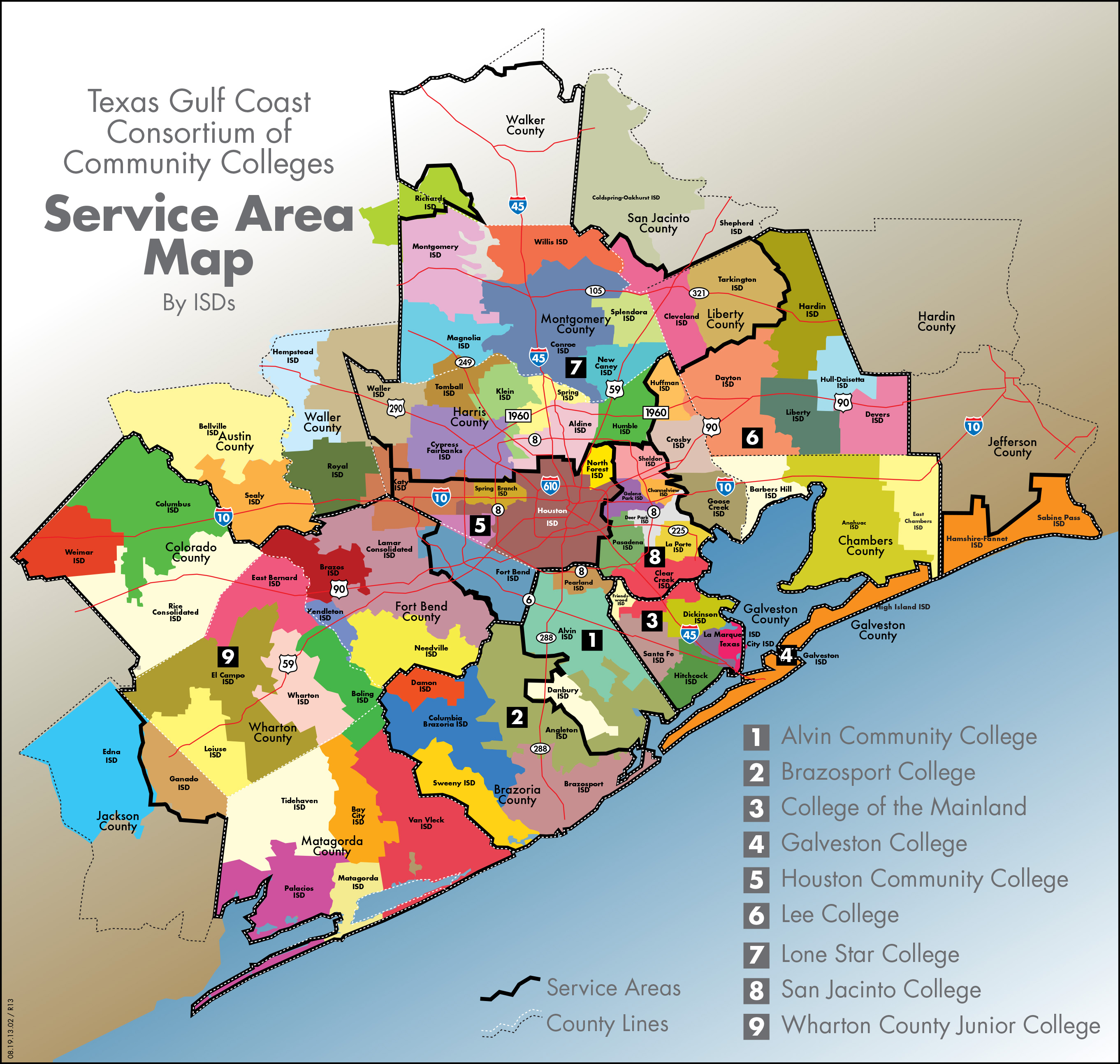Map of Community College Service Areas by ISD