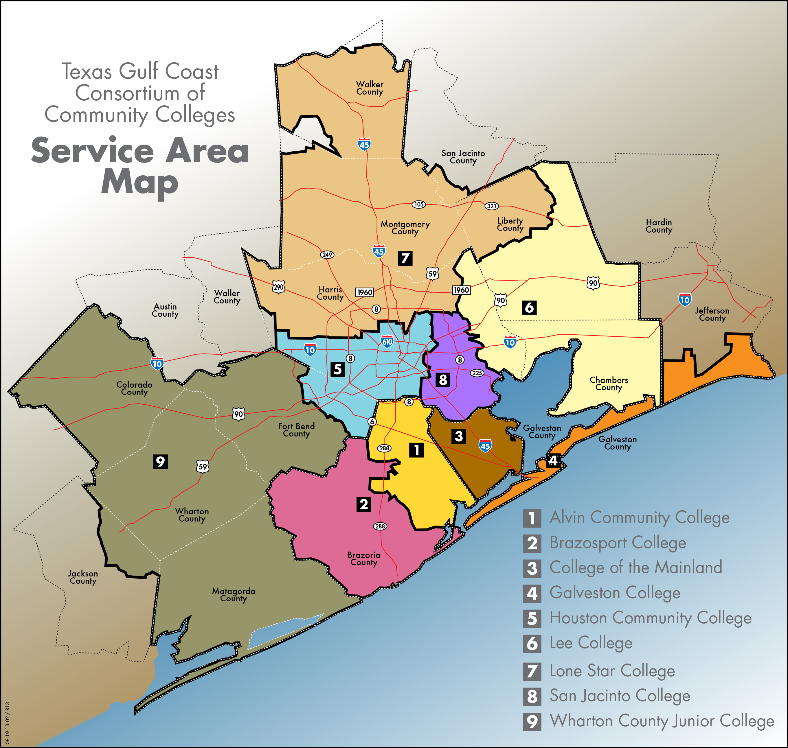 Map of Community College Service Areas by County